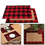 Funyear Cotton and Burlap Check Placemats for Christmas Table Dcor,Red and Black Plaid Table Mats, Waterproof Plaid Placemats for Christmas Decorations(6pcs)
