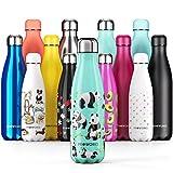 Proworks Botellas de Agua Deportiva de Acero Inoxidable | Cantimplora Termo con Doble Aislamiento para 12 Horas de Bebida Caliente y 24 Horas de Bebida Fría - Libre de BPA - 500ml – Verde - Panda