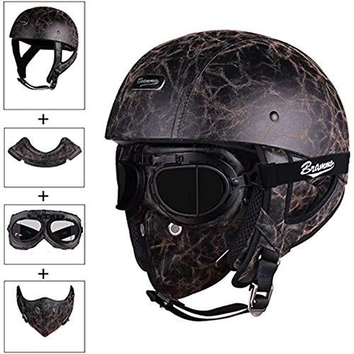 ZHXH Retro Open Face Halber Helm% Motorrad 3/4 Helm Herren Knight Personality Scooter, ATV Cruiser, Maske, Schutzbrille