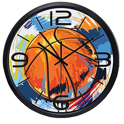 rrff Relojes De Pared Reloj De Pared De Pintura Colorida De Baloncesto De Fútbol para Sala De Hombres, Herramientas De Reloj De Calidad Súper Silenciosa para Observar El Tiempo -B