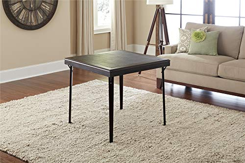 Cosco Folding Wood Table Square with Vinyl Inset, 32, Espresso Black