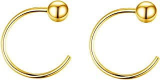 3mm Ball Half Small Hoop Studs Earrings for Cartilage Women Girls Sensitive Ears Sterling Silver Gold Plated Huggie Cuff Wrap Earring Ear Piercing Cute Jewelry Hypoallergenic for Sensitive Ears