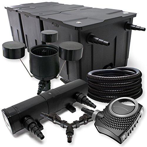 SunSun Filter Set 90000l Teich 36W Teichklärer NEO10000 80W Pumpe 25m Schlauch Skimmer
