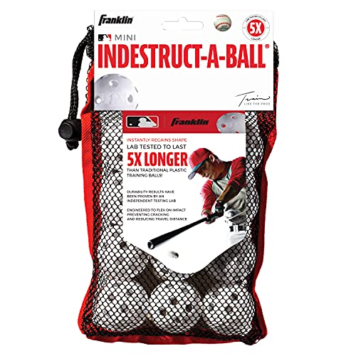 Franklin Sports MLB Indestruct-A-Ball Micro Baseballs, 12 Count, 1.5-Inch, White