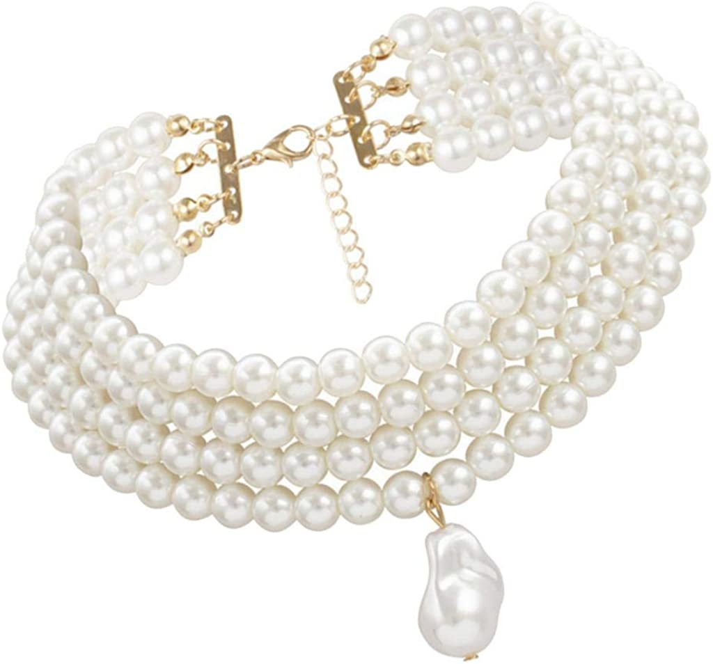 Kloware Elegant Multilayer Simulated Bead Strand Necklace Cluster Collar Statement
