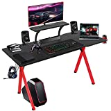 LAZZO 57' Multifunction Computer Gaming Desk,Stylish Home Office Desk with Carbon Fiber Surface, X Type Music Gamer Workstation with Monitor Stand, Mouse Pad, Cup Holder, Headphone Hook, Red & Black
