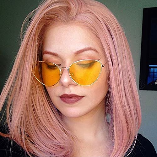 RainaHair Short Bob Middle Part Pastel Pink Lace Front Wig Synthetic Wigs for Women Rose Gold Heat Resistant Fiber Party Natural Looking Haircut Drag Queen 14 Inch…