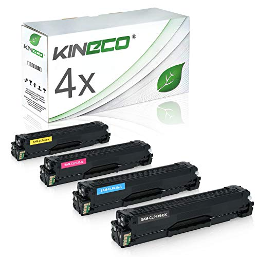 4 Toner kompatibel zu Samsung CLP-415 CLP415 für Samsung Xpress C1810W/SEE, Xpress C1860FW/XEC, CLP-415N/XEC, CLP-415NW/XEG - Schwarz 2.500 Seiten, Color je 1.800 Seiten