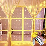 Ollny Curtain String Lights 192 LEDs USB Powered Window Curtain Fairy Lights for Bedroom Wedding Party Christmas Indoor Outdoor Decoration with Remote Control and 8 Modes Warm White