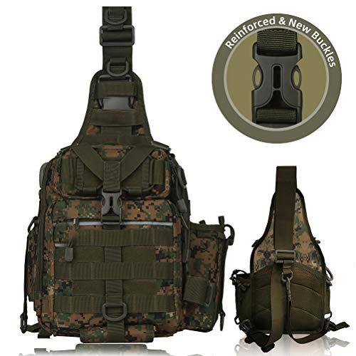 Blisswill Angelrucksack, große Angeltasche, für draußen, wasserabweisender Angelrucksack mit Rutenhalter, Schulterrucksack, Camouflage