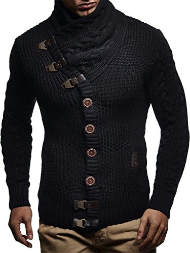 Leif Nelson Men's Knit Cardigan with Turtle Neck LN7080; Size S, Black