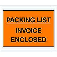 Partners Brand PPL417 Packing List/Invoice Enclosed Envelopes Full Face 4 1/2 x 5 1/2 Orange (Pack of 1000) [並行輸入品]
