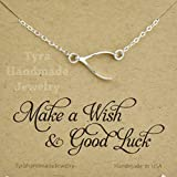 Sterling Silver Wishbone necklace,Sideways wishbone,Blessed lucky charm,Graduation gift,Jennifer Aniston inspired wishbone necklace,custom note card