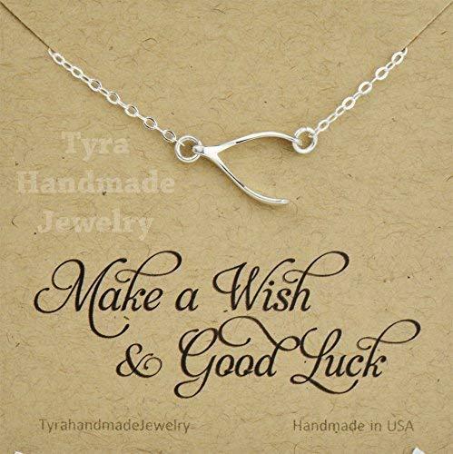Sterling Silver Wishbone necklace,Sideways wishbone,Blessed lucky charm,Graduation gift,Jennifer Aniston inspired wishbone necklace,custom note card