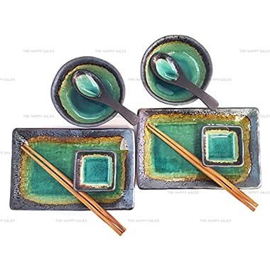 Happy Sales 10 Piece Japanese Sushi Plate Dinnerware Set, Turquoise Kosui Green