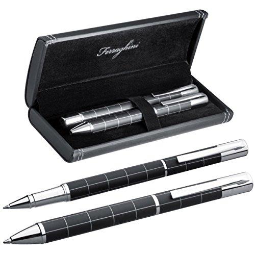 Ferraghini Schreibset aus Metall - mit Kugelschreiber und Rollerball im ansprechenden Etui
