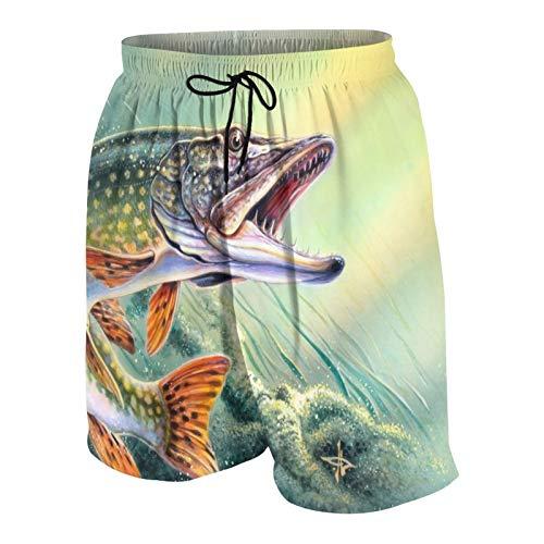 NOLOVVHA Uomo Personalizzato Costume da Bagno,Casi Pesce Spigola con Gancio Fuori Oceano,Casuale Beachwear Costumi Pantaloncini da Surf