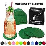 flamaroc® Filzuntersetzer Rund - 10er Untersetzer Filz Premium-Set mit Box Grün, Stylishe Glasuntersetzer in Grün für Glas, Getränke, Gläser (10 cm rund, Grün)