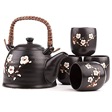 Contemporary handcrafted Japanese Cherry Blossoms Handcrafted Ceramic Tea Set – with Stainless Steel loose leaf Infuser and Matching Four Tea Cup