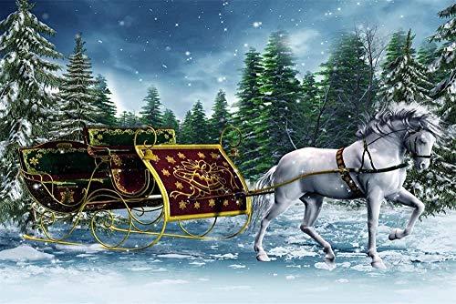 JFZJFZ schilderij op nummer kit DIY olieverfschilderij tekening paard en slee linnen met penselen decoratie decoraties geschenken 40x50cm