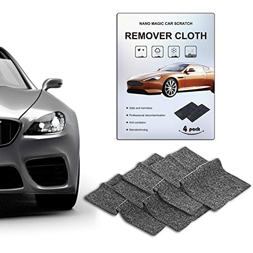 CHARMINER 4PCS Nano Sparkle Cloth,Nano Magic Cloth for Car Scratch Remover,Nano Magic Repair Cloth,Nano Sparkle Cloth,Sparkle Car Accessories,Car Scratch Remover Cloth,Scratched on Surface(Black