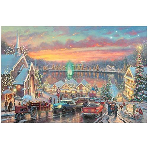 Muurdrukken Thomas Kinkade-The Lights of Christmastown-Goedkope Getextureerde Abstract Art Mooie Lake Homes Gratis Verzending Kunst -60x80cm Geen Frame