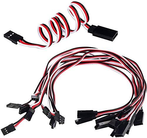 POFET 20 Stück Servo-Verlängerungskabel Anschlusskabel 10 mm 12,59 Zoll 3-poliges Kabel JR-Stecker und Futaba-Buchse für RC-Flugzeug