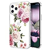 zelaxy Case Compatible with iPhone 12 / iPhone 12 Pro,Shockproof Protective Anti-Slip Slim Hard Shell Bumper Cute Floral Flower Case for iPhone 12 / iPhone 12 Pro 6.1 inch (Peony)