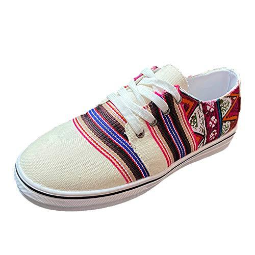 DAIFINEY Damen Segelschuhe Farbstreifen Canvas Sneaker Atmungsaktiv Freizeitschuhe Walkingschuhe Freizeitschuh(1-Weiß/White,40)