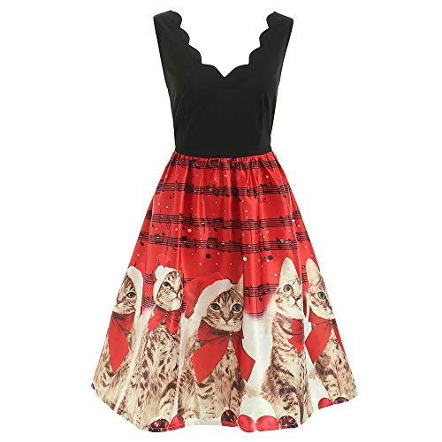 Buy Seaintheson Christmas Womens Dress, Women's Cute Cats Musical Notes Print Cocktail Swing Dress V...