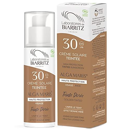 Laboratoires de Biarritz - Crème Solaire Visage Teintée Dorée - SPF30 - ALGA MARIS® Certifiée Bio - Hydrate, Matifie, Unifie pour un Effet Bonne Mine - 50 ml - Fabriquée en France
