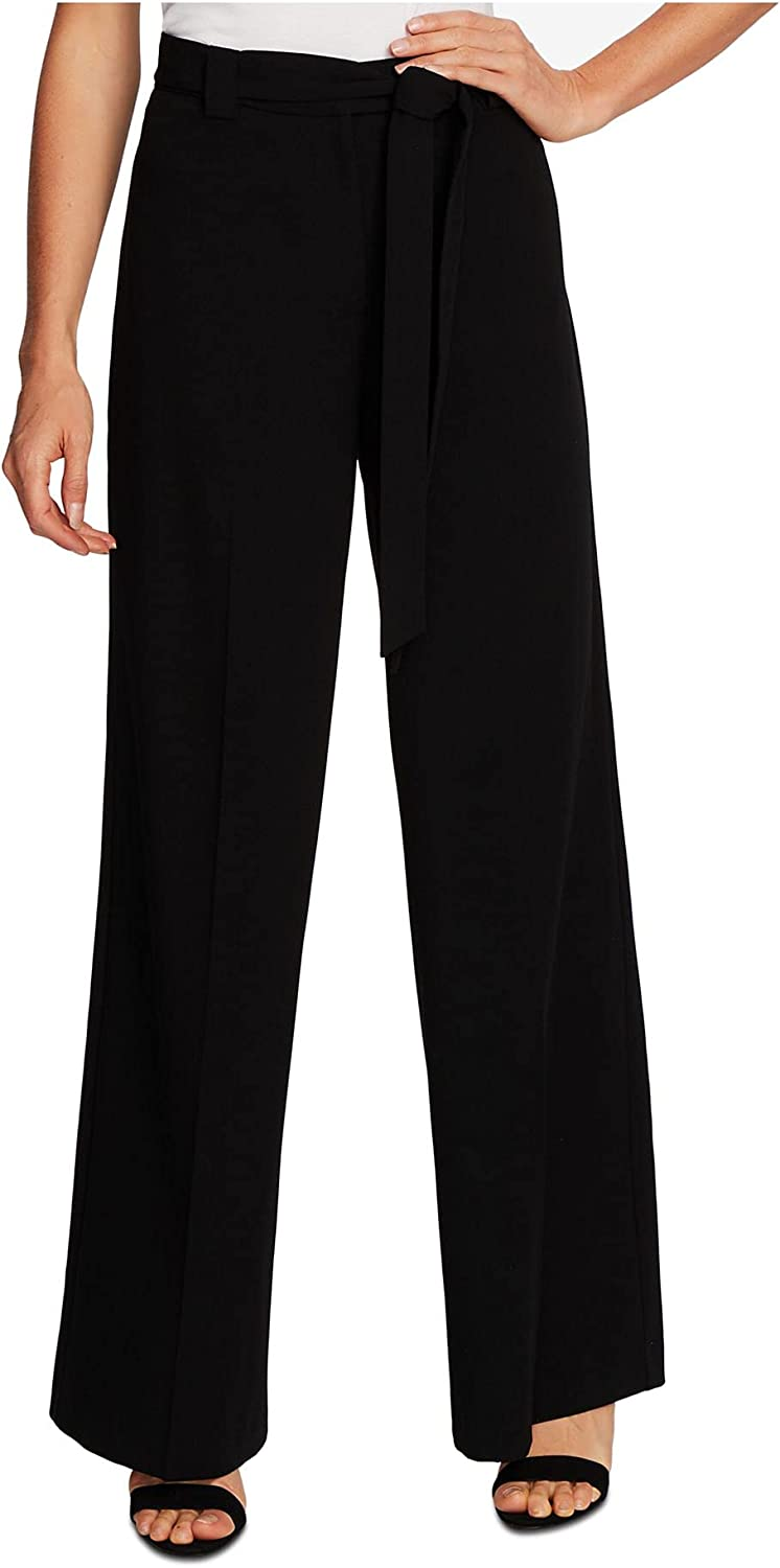 Vince Camuto Womens Black Zippered Wide Leg Wear to Work Pants Size 0