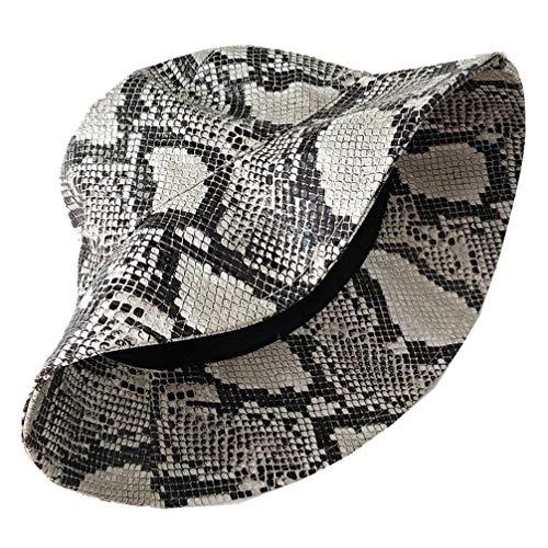 KESYOO Sombrero de Cubo Unisex Reversible con Estampado de Piel de Serpiente Gorras de Sol de Pescador de Algodón Sombrero de Sol con Cubo para Hombres Y Mujeres (Patrón de Leopardo)