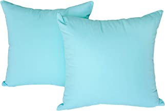 Happy Home Findings Decorative Throw Pillow Covers 18x18-100% Cotton Set of 2- for Couch, Bed, Chair, Sofa, Bench- Accent Pillow Cases with Zipper- Cushion Covers Only- Solid Light Turquoise Color