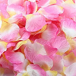 VENMO 1000pcs Pétalos de Rosa de Seda, Flor Artificial Boda Favor Despedida de Soltera Pasillo Florero Decoración…
