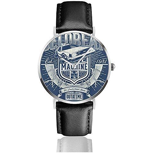 Unisex Outatime Delorean Zurück in die Zukunft Uhren Quarzlederuhr mit schwarzem Lederband