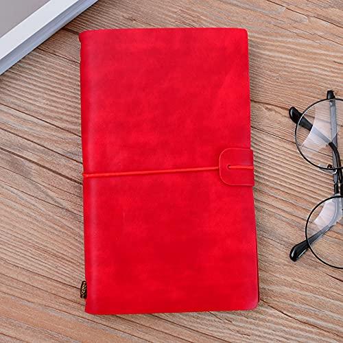 PPuujia Cuaderno de piel sintética hecho a mano con diseño vintage y cuaderno de bocetos, planificador TN de viaje (color rojo)