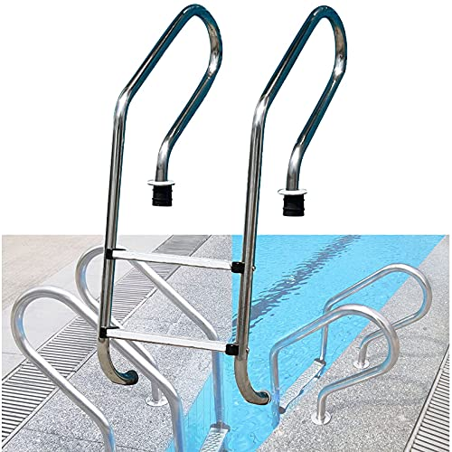Escalera dividida de suelo de acero inoxidable antideslizante escalera de piscina barandilla de acero inoxidable en la escalera de la piscina 2 pasos arco estrecho 200kg capacidad de peso piscina