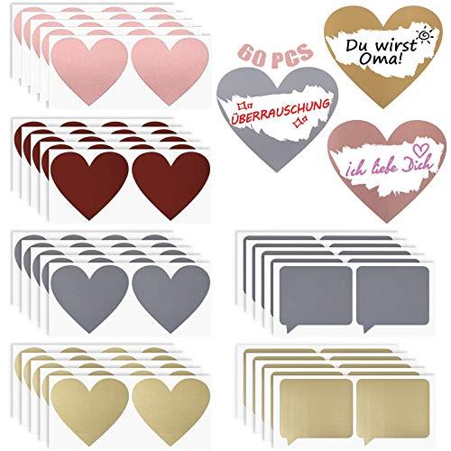 Etiquetas autoadhesivas 60 piezas Etiquetas Rasguño de corazón Adhesivo con purpurina Pegatinas para manualidades Para juegos de álbumes de recortes regalo postales promoción diálogo de corazón