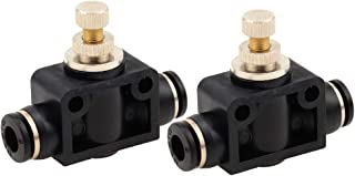 Beduan Pneumatic Push to Connect Air Fitting 8mm or 5/16 inch Tube OD Straight Union Ball Air Flow Control Valve (Pack of 2 )