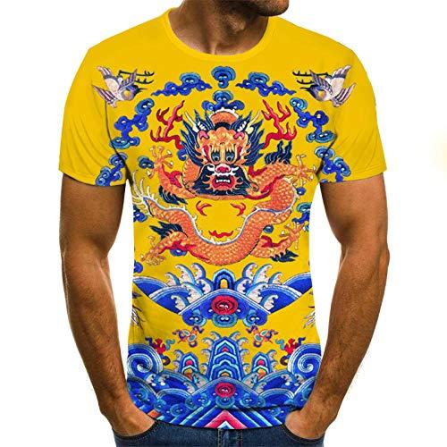 Chinese Draak Unisex T Shirt Zomer 3D Gedrukt Korte Mouw Geel Gepersonaliseerde Lelijke Tops Tees voor Strand Vakantie