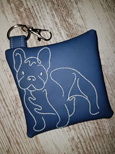 Kotbeutelspender für Hunde Französische Bulldogge French Bulldog aus pflegeleichtem Kunstleder blau