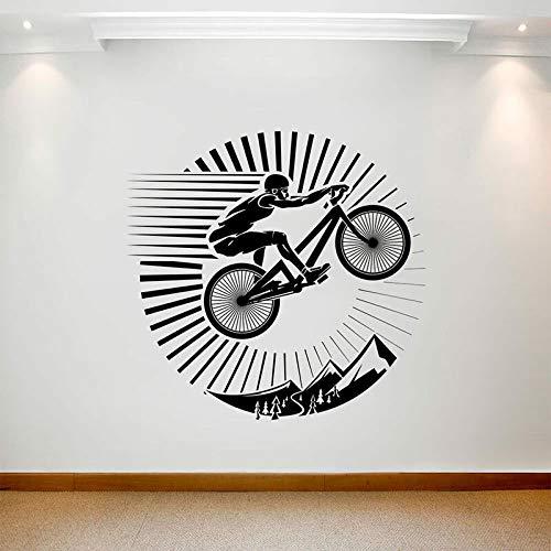 ASFGA Mountainbike Wandtattoo Landschaft Sprung Bewegung Tür Fenster Vinyl Aufkleber Schlafzimmer Wohnzimmer Stadion Innenkunst Outdoor Extreme Jungen Schlafzimmer 74x76cm