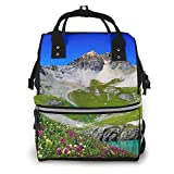 Beautiful Ice Lake Scenery Mummy Backpack Baby Nappy Bags Multi-Function Diaper Bag Backpack,Waterproof,Stylish and Large Capacity,Suitable for Use When Taking Your Baby Out to Play.