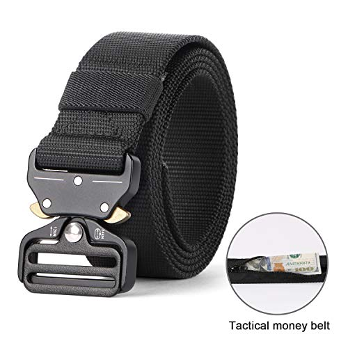 Tactical Belt, Military Style Webbing Riggers Nylon Belt with Heavy-Duty Quick-Release Metal Buckle 1.5 Inches Wide, Black, Waist Size 32-38 Inches