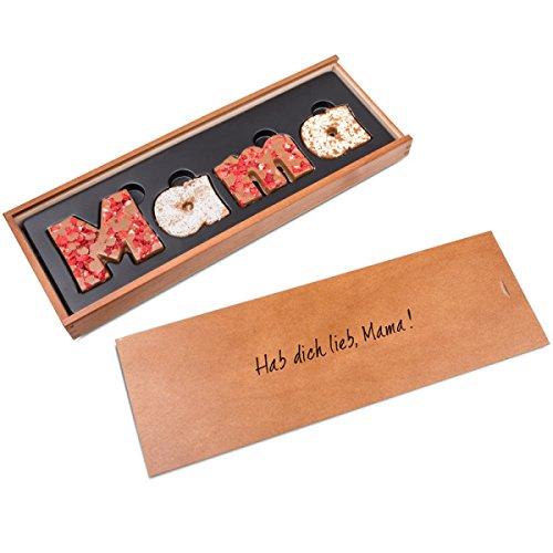 MAMA - Schokobuchstaben Vollmilch - mit Früchten und Nüssen | Geschenk für Mutter | Muttertagsgeschenk | Schokolade für Mama | Holzschatulle Hab dich lieb Mama | Geschenkidee | Geburtstagsgeschenk | Ohne Alkohol