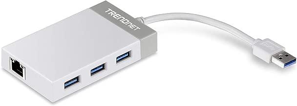 TRENDnet 3-Port Hub with 10/100/1000 Mbps Gigabit Ethernet Adapter (3 USB 3.0 Ports, A RJ45 Gigabit Ethernet Port), Support XP, Vista, Windows 7, 8, 1, 10, Mac OS 10.6-10.9, TU3-ETGH3