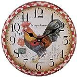 Cockerel 76311 - Large Rustic Retro Kitchen Wall Clock 34cm