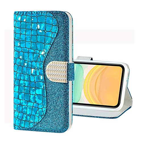 Für iPhone 11 Fall for iPhone 11 Pro Laser Glitter Puder Krokodil Textur...