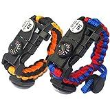 Paracord Survival Armband Kit für Herren Damen, Survival Armband mit Feuerstein + Kompass +...